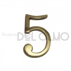 Número 5 latón