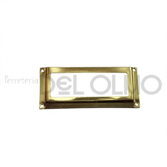 Porta etiquetas latón rectangular